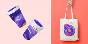 Paper cups + bag